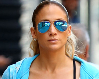 Jlo With Her Blue Sunglasses